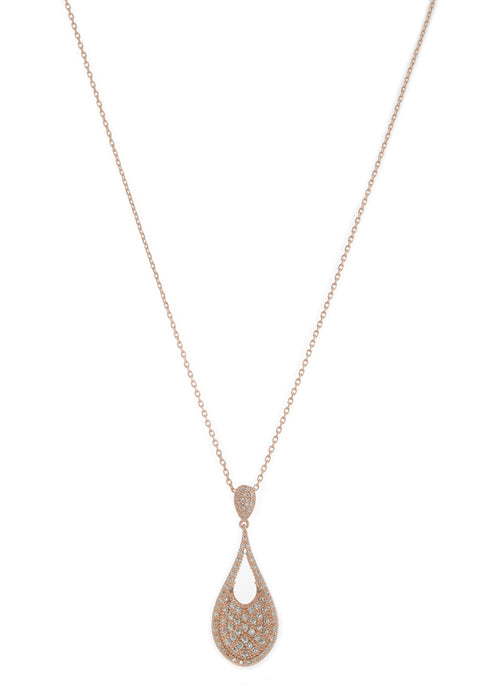 Ersa (Greek Goddess of Dew) Tear drop pendant short necklace with hand set micro pave high quality CZ, Rose Gold finish