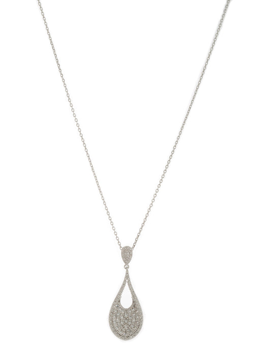 Ersa (Greek Goddess of Dew) Tear drop pendant short necklace with hand set micro pave high quality CZ, White Gold finish