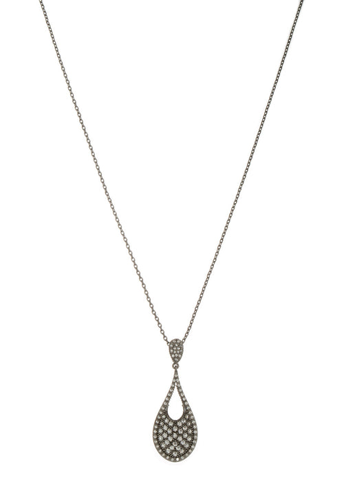 Ersa (Greek Goddess of Dew) Tear drop pendant short necklace with hand set micro pave high quality CZ, Gun metal finish