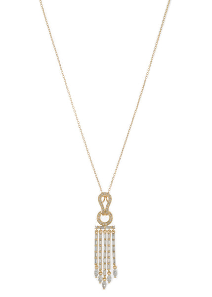 Athena drop pendant short necklace in hand set high quality CZ, baguette and marquis cut accent, Gold finish
