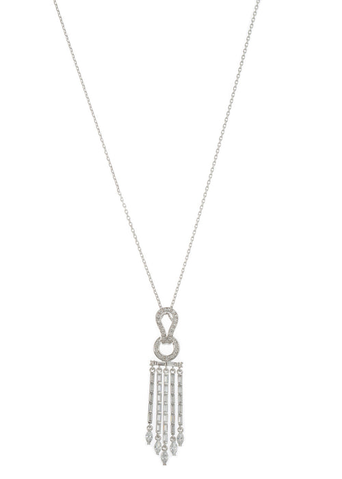 Athena drop pendant short necklace in hand set high quality CZ, baguette and marquis cut accent, White Gold finish