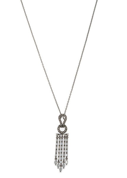 Athena drop pendant short necklace in hand set high quality CZ, baguette and marquis cut accent, Gun metal finish