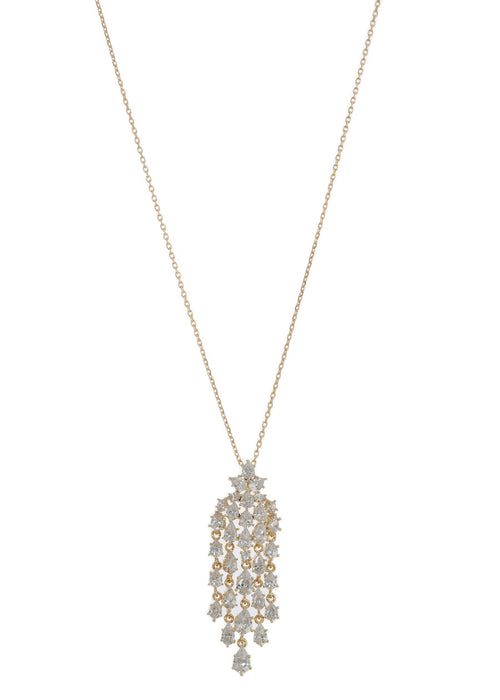 Cascading chandelier short pendant necklace with hand set high quality tear drop and round cut CZ, Gold finish