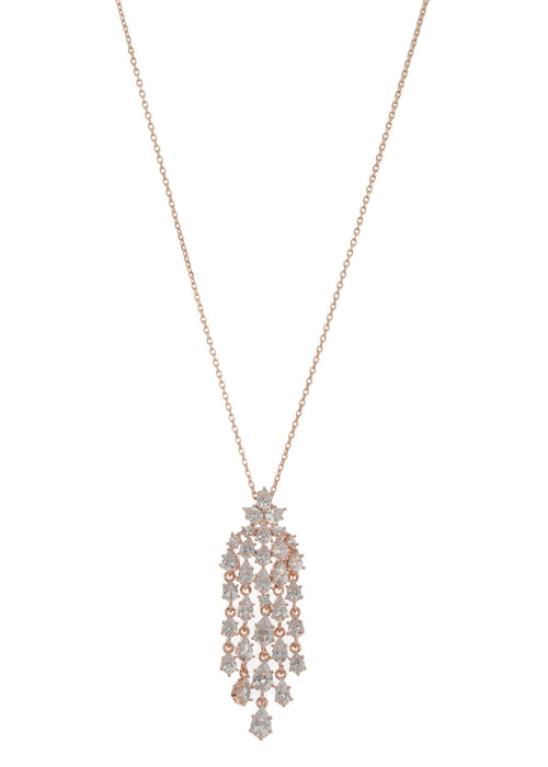 Cascading chandelier short pendant necklace with hand set high quality tear drop and round cut CZ, Rose Gold finish
