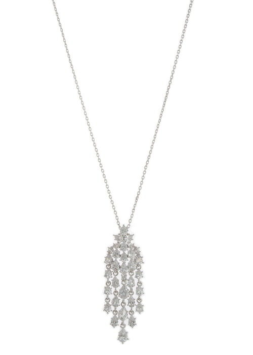Cascading chandelier short pendant necklace with hand set high quality tear drop and round cut CZ, White Gold finish