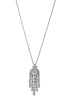 Cascading chandelier short pendant necklace with hand set high quality tear drop and round cut CZ, Gun metal finish