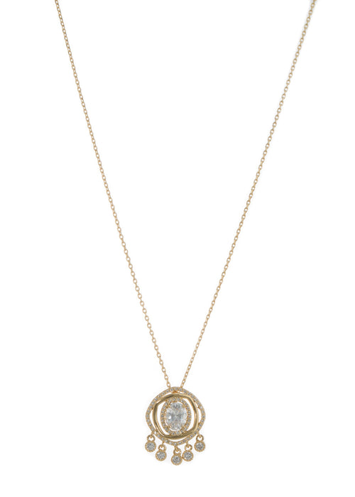 Halo Oval cut CZ centered double ring with five antique hand set high quality CZ drop pendant short necklace, Gold finish