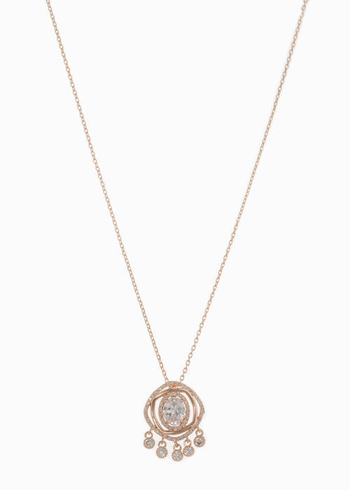 Halo Oval cut CZ centered double ring with five antique hand set high quality CZ drop pendant short necklace, Rose Gold finish