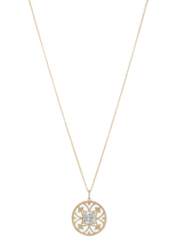Princess cut clear CZ centered medallion long pendant necklace with hand set high quality CZ detail, Gold finish
