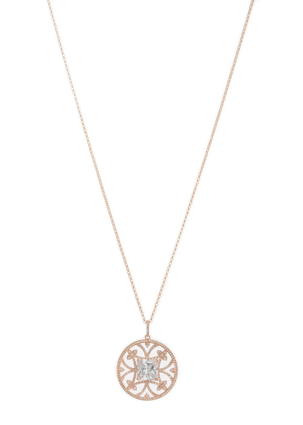 Princess cut clear CZ centered medallion long pendant necklace with hand set high quality CZ detail, Rose Gold finish