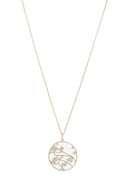 The constellation Medallion long pendant necklace with high quality CZ, Gold finish