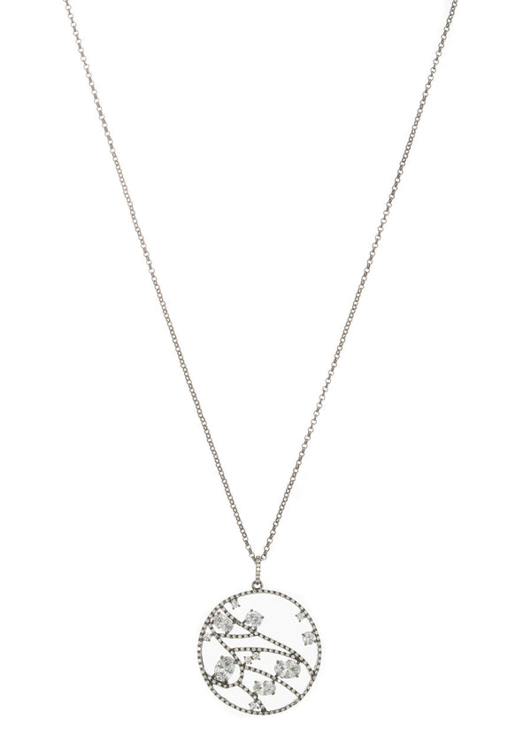 The constellation Medallion long pendant necklace with high quality CZ, Gun metal finish