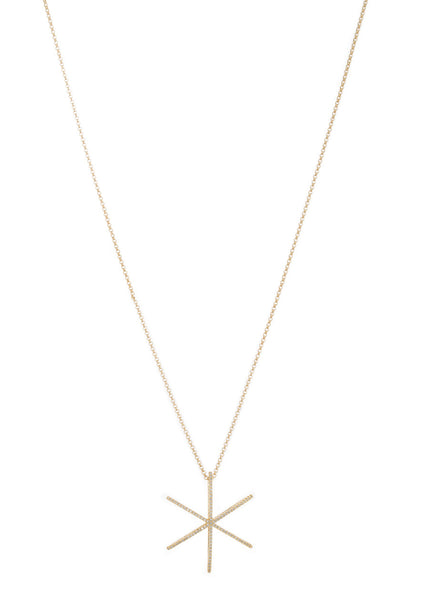 Polaris long pendant necklace with micro pave high quality CZ, Gold finish