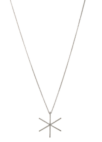 Polaris long pendant necklace with micro pave high quality CZ, Gun metal finish