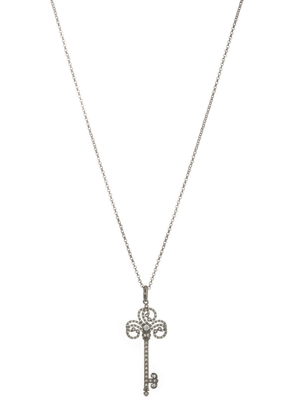 Unlock the heart long pendant necklace with hand set micro pave high quality CZ, Gun metal finish
