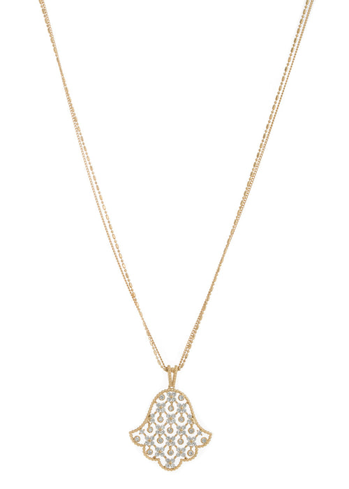 Hamsa long pendant necklace with 11 moving accents in hand set high quality CZ, Gold finish