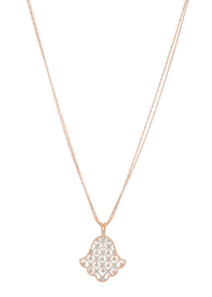 Hamsa long pendant necklace with 11 moving accents in hand set high quality CZ, Rose Gold finish