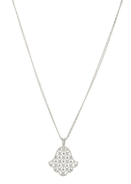 Hamsa long pendant necklace with 11 moving accents in hand set high quality CZ, White Gold finish