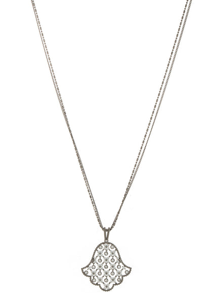 Hamsa long pendant necklace with 11 moving accents in hand set high quality CZ, Gun metal finish