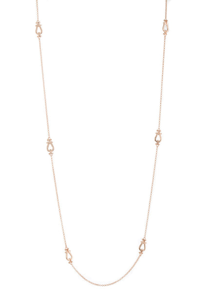 Door knocker motif stationed long strand necklace, Rose Gold finish