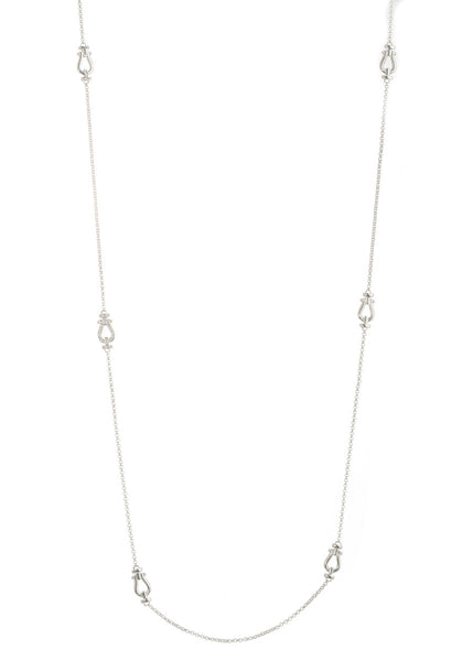 Door knocker motif stationed long strand necklace, White Gold finish