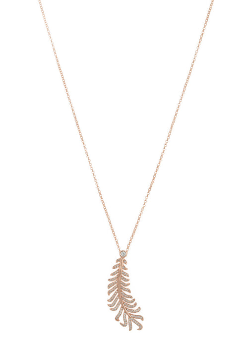 Laurel leaf long pendant necklace with hand set micropave high quality CZ, Rose Gold finish