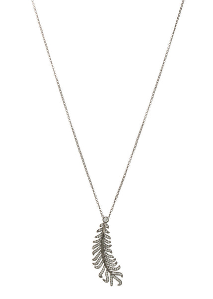 Laurel leaf long pendant necklace with hand set micropave high quality CZ, Gun metal finish