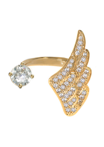Angel wing and one carat CZ adjustable ring with hand set micro pave high quality CZ detail, Gold finish