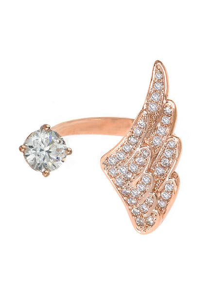 Angel wing and one carat CZ adjustable ring with hand set micro pave high quality CZ detail, Rose Gold finish