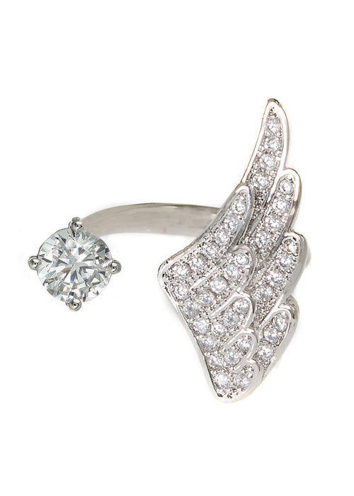 Angel wing and one carat CZ adjustable ring with hand set micro pave high quality CZ detail, White Gold finish