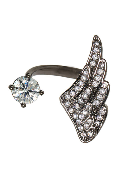 Angel wing and one carat CZ adjustable ring with hand set micro pave high quality CZ detail, Gun metal finish
