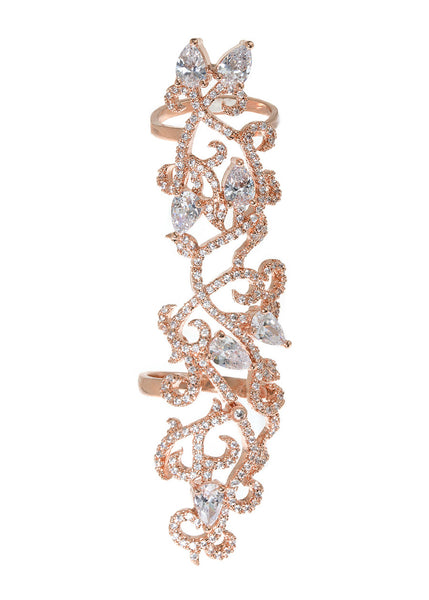 The garden of Eden knuckle ring with 7 tear drop cut CZ accents in hand set micro pave high quality CZ, Rose Gold finish