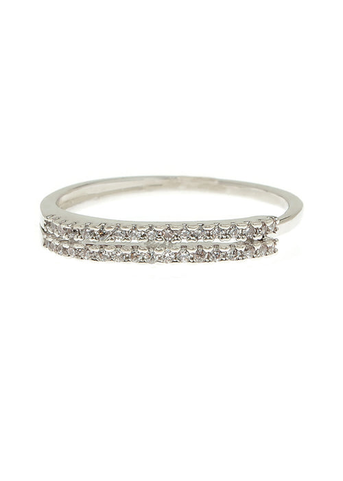 Delicate two rows of hand set micro pave high quality CZ adjustable ring, White Gold finish