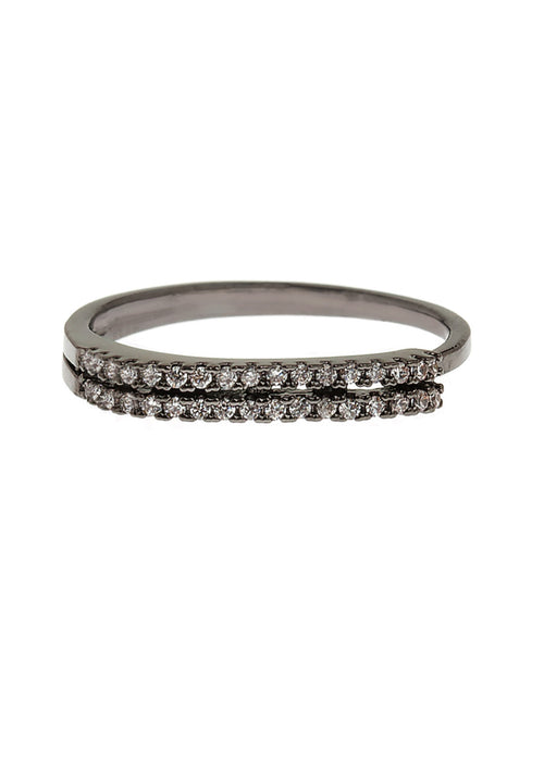 Delicate two rows of hand set micro pave high quality CZ adjustable ring, Gun metal finish