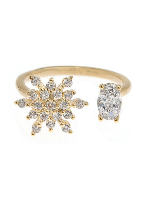 The moon and the star adjustable ring with hand set high quality CZ, Gold finish