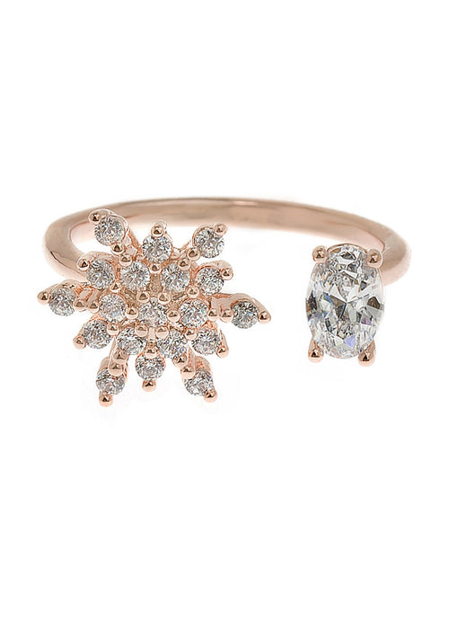 The moon and the star adjustable ring with hand set high quality CZ, Rose Gold finish