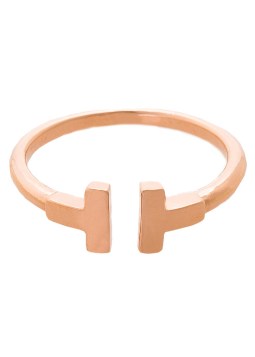 Simple polished vertical bar adjustable ring, Rose Gold finish