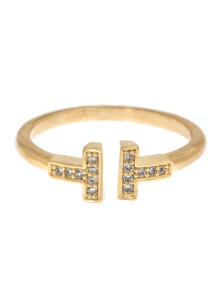 Vertical bar adjustable ring with hand set high quality CZ, Gold finish