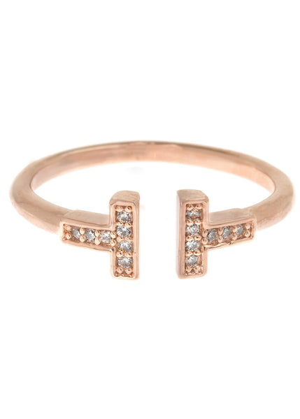 Vertical bar adjustable ring with hand set high quality CZ, Rose Gold finish