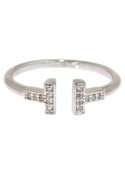 Vertical bar adjustable ring with hand set high quality CZ, White Gold finish