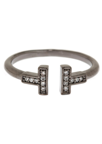 Vertical bar adjustable ring with hand set high quality CZ, Gun metal finish