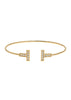 Vertical bar adjustable bangle with hand set high quality CZ, Gold finish