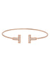 Vertical bar adjustable bangle with hand set high quality CZ, Rose Gold finish