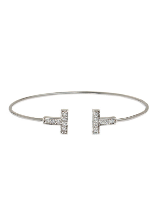 Vertical bar adjustable bangle with hand set high quality CZ, White Gold finish
