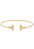 Medium high polish vertical bar adjustable bangle, Gold finish