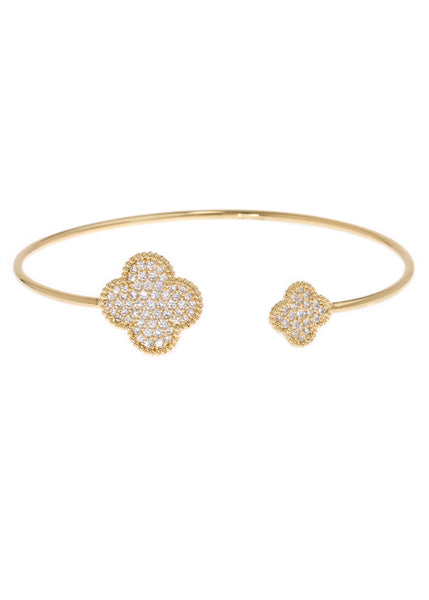 Quatrefoil adjustable bangle with micro pave hand set high quality CZ, Gold finish