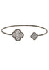 Quatrefoil adjustable bangle with micro pave hand set high quality CZ, Gun metal finish