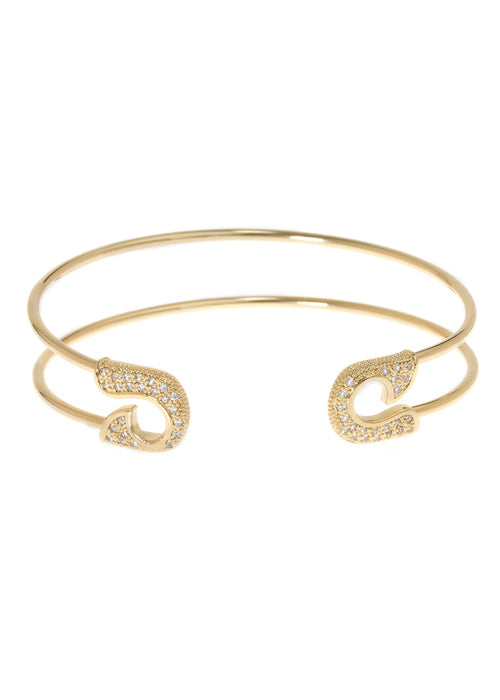 Keep it together adjustable bangle with micro pave hand set high quality CZ, Gold finish