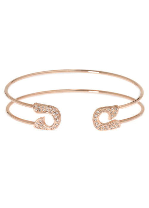 Keep it together adjustable bangle with micro pave hand set high quality CZ, Rose Gold finish