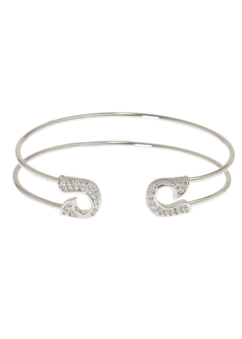 Keep it together adjustable bangle with micro pave hand set high quality CZ, White Gold finish